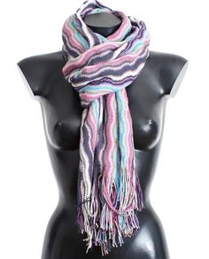 MISSONI Multicolor zig zag pattern wool scarf. Gorgeous brand new with tags, 100% Authentic MISSONI multicolor Zig Zag pattern wool blend fringed Scarf.