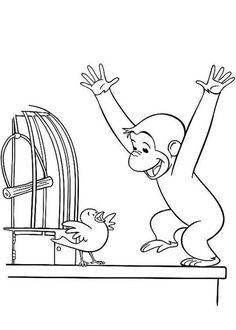 Curious Geroge With Bird Coloring Pages - Curious George Coloring Pages : KidsDrawing – Free Coloring Pages Online Bird Coloring Pages, Coloring Sheets, Coloring Books, Colouring, Curious George Coloring Pages, Curious George Party, Toddler Learning Activities, Digi Stamps, Quilt Blocks