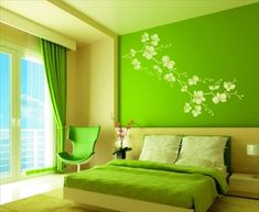 Modern Ideas About the Green Bedroom Design Bedroom Colour Schemes Green, Green Bedroom Paint, Green Bedroom Design, Green Bedroom Decor, Best Bedroom Colors, Blue Bedroom, Trendy Bedroom, Bedroom Wall, Bedroom Ideas