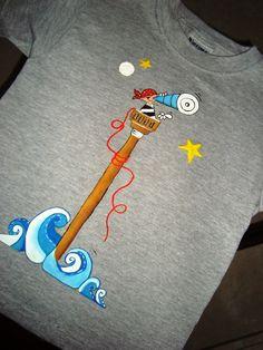 Pirata en alta mar Saree Painting, Dress Painting, T Shirt Painting, Hand Painting Art, Fabric Painting, Fabric Art, Fabric Design, Painted Clothes, Painted Shoes