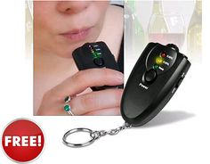 Free Keychain Alcohol Breathalyzer with LED Concentration Indicator