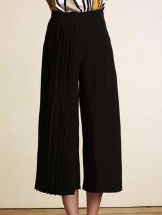 Stylish High Waist Black Pleated Wide Leg Women's Pants in Black | Sammydress.com