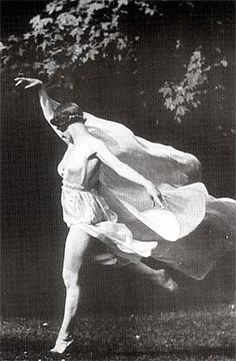 Isadora Duncan, famous dancer and dance teacher from the early 1900's.  Duncan's fondness for flowing scarves was a contributing factor to her death in an automobile accident in Nice, France, when she was a passenger in an Amilcar. Her silk scarf, draped around her neck, became entangled around the open-spoked wheels and rear axle, breaking her neck.