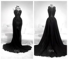 Onyx Rose Gown by Askasu Dark Fashion, Gothic Fashion, Pretty Dresses, Beautiful Dresses, Prom Dresses, Formal Dresses, Wedding Dresses, Rose Gown, Fantasy Gowns