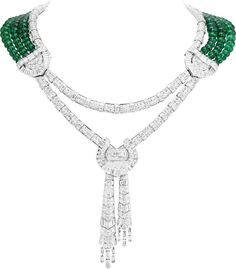 """Van Cleef & Arpels """"Émeraude En Majesté"""" high jewelry collection Drapé Majestueux necklace in white gold, diamonds and 150 Zambian emerald beads for a total of 244.44 carats"""