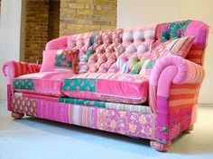 bright pink green patchwork sofa