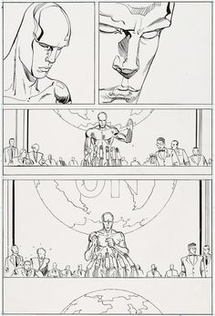 Original page by Moebius from The Silver Surfer #2, published by Marvel/Epic Comics, January 1989.