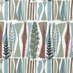 Fabric pattern by Mary White Coppice, designed for Heals modern textiles Textile Patterns, Textile Prints, Textile Design, Fabric Design, Print Patterns, Century Textiles, Retro Fabric, Mid Century Art, Vintage Textiles