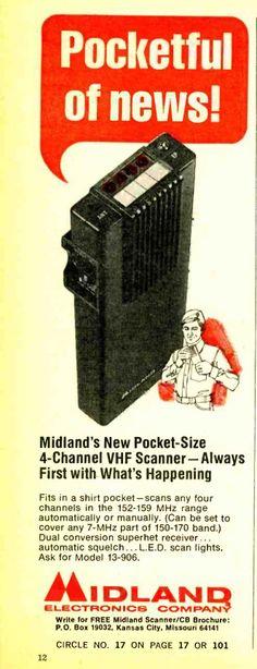 Midland Four Channel Handheld Scanner Radio Scanning Receiver Crystal