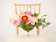 Artful and Sweet Gallery Wedding, Garden and Poppy Centerpiece, Minted