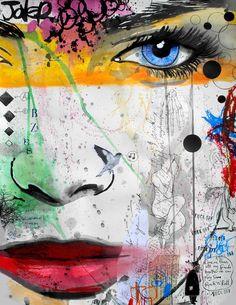 "Loui Jover; Ink, 2013, Mixed Media ""stardust"""