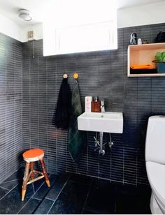 Miniature matte black subway tile run almost all the way up these walls; I'm obsessed. | japanesetrash.com
