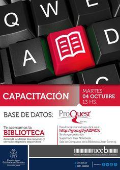#Capacitacion en base de datos de #Proquest. Aprendé a utilizar los #servicios que te ofrece la #Biblio. #Bibliotecas #Ucc