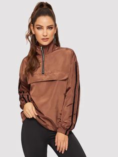 Striped Sleeve Half Placket Windbreaker Jacket 2019 Women Spring Autumn High Neck Coat Brown Long Sleeve Outerwear Brown S Types Of Jackets, Jackets For Women, Clothes For Women, Casual Clothes, Velvet Bomber Jacket, Fashion News, Fashion Outfits, Sporty Fashion, Fashion Styles