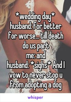 *wedding day*  husband: for better for worse... till death do us part me: and husband: *sighs* And I vow to never stop u from adopting a dog