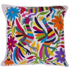 Multi-Colored Hand Embroidered Otomi Pillow
