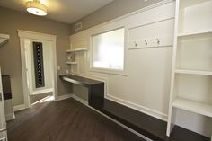 Love the idea of a little vestibule/mudroom coming in from the garage. Like the bench and practicality of this space. Vestibule, Mudroom, How To Plan, Space, Garage, Bench, Closet, Furniture, Home Decor