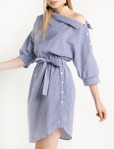 Button Side Striped Off The Shoulder Shirt Dress