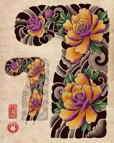 Peony sleeve will n iPad Pro:) available design 🌸 Japanese Flower Tattoo, Japanese Tattoo Designs, Japanese Sleeve Tattoos, Flower Tattoo Designs, Flower Tattoos, Full Hand Tattoo, Full Sleeve Tattoo Design, Half Sleeve Tattoos Designs, Tattoo Arm
