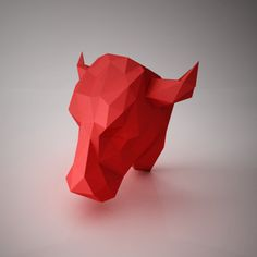 Cat large black gradient do it yourself paper lamp shade more diy paper sculptures bull head trophy template by ottockraft solutioingenieria Gallery