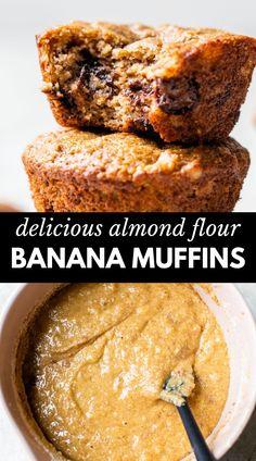 Banana Almond Flour Muffins, Ripe Banana Recipe, Almond Flour Cakes, Almond Pastry, Flours Banana Bread, Almond Flour Bread, Paleo Banana Bread, Banana Chocolate Chip Muffins, Almond Flour Recipes