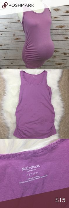 """{Motherhood Maternity} Pretty Purple tank top Great condition Maternity tank top.  I absolutely loved showing off my belly with the synched sides!  There are no stains, rips or damage on this tank :). Fits true to a size maternity size.  Dimensions are approximate when laid flat: Length: 28"""" Bust: 17"""" Motherhood Maternity Tops Tank Tops"""