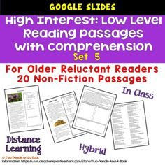 GOOGLE SLIDE VERSIONSET 5: 20 - High interest, low level reading passage for grades 5-12. These passages are perfect for older struggling readers.Passages are at reading levels grade 2 through 3.This resource contains:These are HIGH INTEREST-LOW LEVEL READABILITY PASSAGES - perfect for Distance, Dig... Reluctant Readers, Struggling Readers, Constructed Response, Fact And Opinion, Reading Practice, Can You Be, Reading Passages, Reading Levels, Grade 2