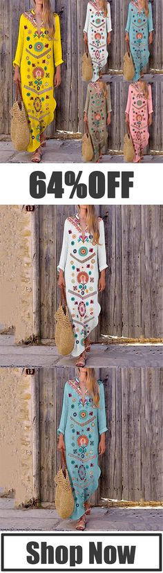 V-Neck Bohemian Printed Dresses #Maxi dresses #Printed dresses #Bohemian fashion Boho Fashion, Vintage Fashion, Fashion Outfits, Bohemian Style, Boho Chic, Pretty Outfits, Cute Outfits, Hippie Style Clothing, Mom Style