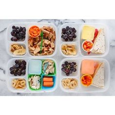 Monday school lunches, a little variety of leftovers from the weekend. Two have quesadillas, one with sour cream for dipping, the other with a side of plain yogurt. The third child has bites of pizza. The fourth has bites of leftover roasted chicken, with mayonnaise for dipping. They all have dried bananas, grapes, and carrots.