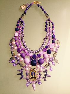 "Handmade necklace ""Lillian"" by JO Art of lilac beads, decorative ribbon, amethyst, wooden beads, glass beads, metal vintage handmade locket"