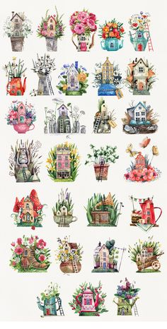Fairytale Houses by Tonia on House Illustration, Watercolor Illustration, Watercolor Paintings, Disney Stitch, Fairytale House, House Drawing, Journal Stickers, Printable Stickers, Cute Drawings