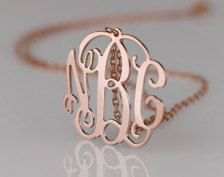 rose gold monogram necklace. love.