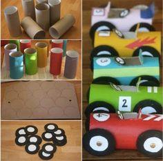 Raceauto maken van een wc-rol