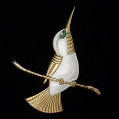 Hummingbird Pin Vintage Sterling Silver Vermeil & Enamel Ela Denmark | eBay