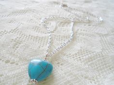 Heart Turquoise pendant necklace Turquoise silver chain