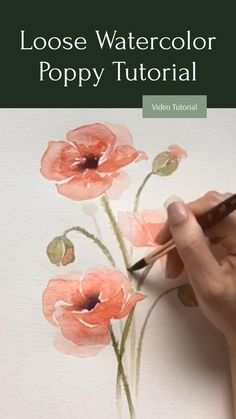 Learn Watercolor Painting, Watercolor Art Lessons, Watercolor Paintings For Beginners, Watercolor Techniques, Poppy Flower Painting, Poppies Painting, Watercolor Poppies, How To Draw Peonies, How To Paint Flowers
