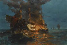 Konstantinos Volanakis - The burning of a turkish frigate