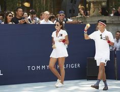 Danielle Bernstein and BryanBoy at the pop-up tennis match in Bryant Park, NYC in available with for members