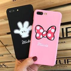 Luxury Pink Cute Cartoon Mickey Minnie ard PC Plastic Phone Case Coque For iphone5 5S SE 6 6S 7 Plus Painting Back Cover Fundas