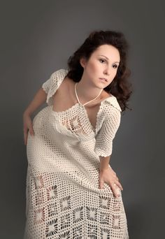 White exclusive crochet dress with crochet bolero top  http://www.etsy.com/listing/99018681/white-exclusive-crochet-dress-with
