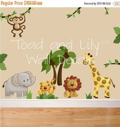 THANK YOU SALE Fabric Wall Decals Jungle Animal by ToadAndLily