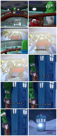 Nina and I love the Fennel Frontier and seeing this was even bettr! Haha Doctor Who in Veggie Tales