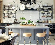 White French Kitchen Island - Design photos, ideas and inspiration. Amazing gallery of interior design and decorating ideas of White French Kitchen Island in dining rooms, kitchens by elite interior designers. Updated Kitchen, New Kitchen, Kitchen Ideas, Awesome Kitchen, Kitchen Time, Kitchen Designs, Kitchen Colors, Gold Kitchen, Kitchen Updates