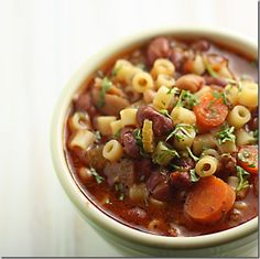 Pasta e Fagioli-I've made this many times, and it is wonderful. Maybe even better than Olive Garden's