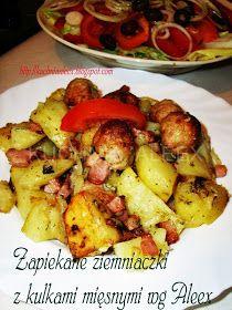 W mojej kuchni: Ziemniaczki zapiekane z mięsnymi kulkami wg Aleex Ale, Potato Salad, Potatoes, Chicken, Ethnic Recipes, Food, Karma, Diet, Ale Beer