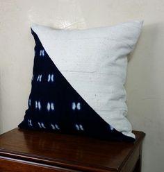 African Mud Cloth Diagonal Indigo and Ivory Pillow by ValarJones