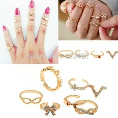 Free Shipping! Artilady 2014 Fashion 7pcs Stacking Midi Rings Infinite Love Deisgn Women Jewelry US $1.69