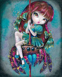 Jumping Spider Ride signée Simona impression Candini Lowbrow Pop fée surréaliste fantastique grands yeux Art Carousel