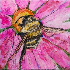 Are you looking for bumble bee art? This Insect art for sale pictures a black and yellow bumblebee sitting on a bright bubblegum pink flower. The insect wall art is modern and contemporary yet remains a classic for kids and adults alike. The bee painting is original, has great texture, style and comes wired and ready to hang without a frame.