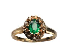1880-90s Victorian Green Paste and Rose Cut Diamond Ring, 14K Yellow Gold : Erie Basin Antiques ($495.00) - Svpply